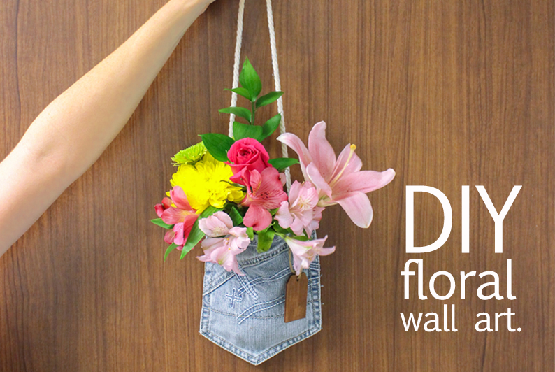 Turn your old jeans into a fresh flower arrangement